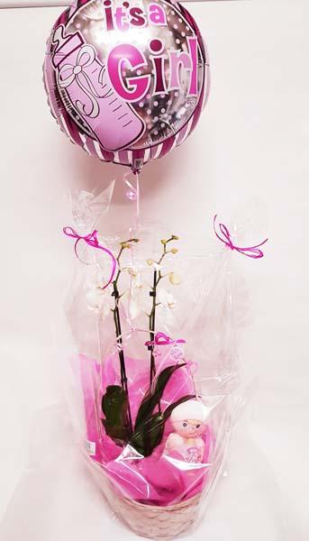 Cesta de flores con globo de helio